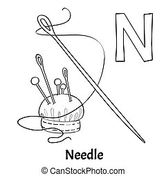 Vector Alphabet Letter N Coloring Page Needle