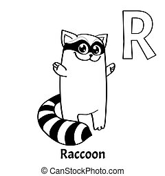 Vector alphabet letter R, coloring page. Raccoon