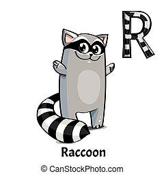 Vector alphabet letter R. Raccoon
