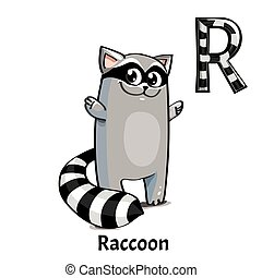 Vector alphabet letter R. Raccoon
