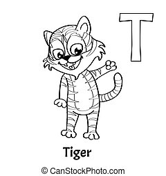 Vector Alphabet Letter T Coloring Page Tiger