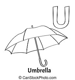 Vector alphabet letter U, coloring page. Umbrella