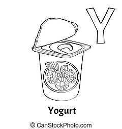 Yogurt vector alphabet letter y coloring page Vector alphabet