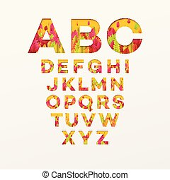 Vector alphabet letters made from autumn leaves. Vector illustration