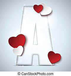 Alphabet Letters With Red Heart Valentine Day