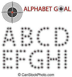Vector alphabet of the target, hit the target
