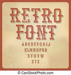 vector, alphabet., ouderwetse , illustratie, papier, retro, brieven, oud, texture.