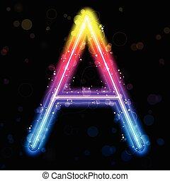Vector - Alphabet Rainbow Lights Glitter with Sparkles