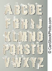 vector alphabet torn paper with transparent tape