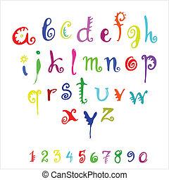 vector alphabet - vector color alphabet and numerals on a ...