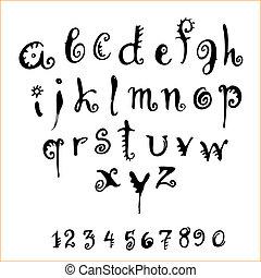 vector alphabet - vector decorative alphabet and numerals on...