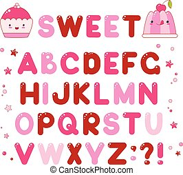 Vector alphabet with caramel candy shiny letters