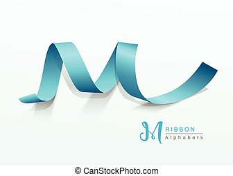 Vector Alphabets blue ribbon design background