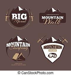 vector, alpinism, al aire libre, campamento, etiquetas, logotipos, conjunto, insignias, montaña, emblemas