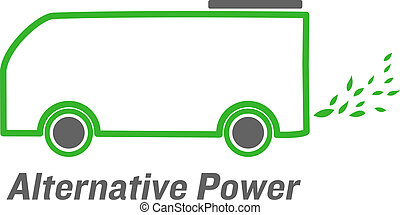 vector alternative power bus with green leaves emissions