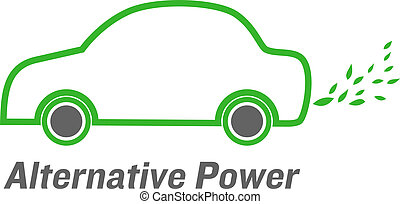 vector alternative power car with green leaves  emissions