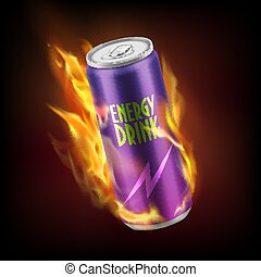 Vector realistic aluminum can with energy soft drink, burning in flames isolated on dark background. Tin purple container with carbonated tonic, soda or alcoholic beverage. Mockup for package design