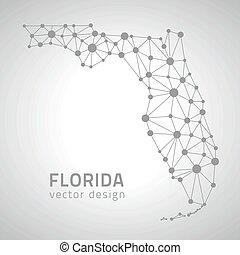 vector, américa, mapa, florida, contorno, gris