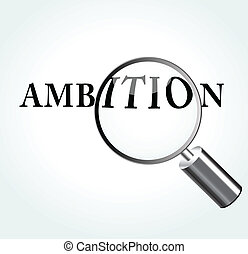 Vector illustration of ambition concept with magnifying