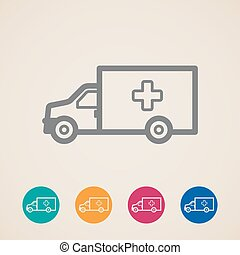 vector ambulance car icons