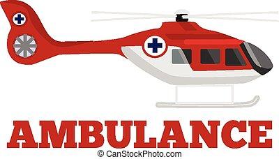 Vector ambulance helicopter flat illustration