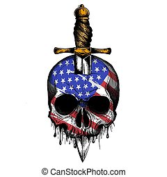 vector America Flag painted on a skull
