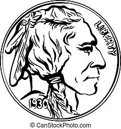 Vector American Buffalo gold coin