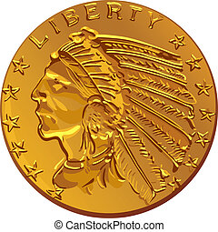 Vector American gold coin dollar - American money, dollar...