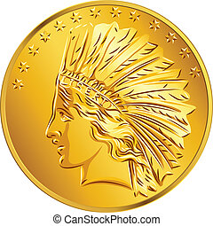 American money, dollar Gold Coin American image of Indians and stars