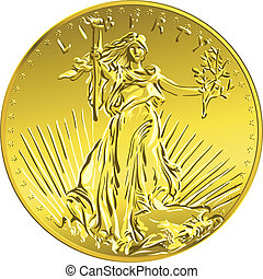 Vector American money gold coin Liberty - American money,...