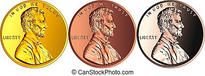 Vector American money gold coin one cent, penny