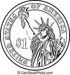Vector American money gold coin one dollar