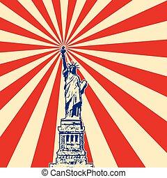vector american symbol of New York statue of liberty