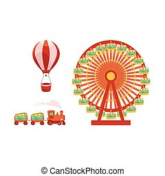 vector amusement park objects icon set