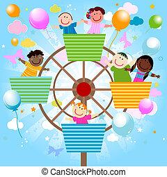 vector amusement park - vector kids in the amusement park