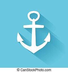 vector anchor icon in flat style with long shadow