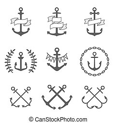 Vector anchor icons and logos set