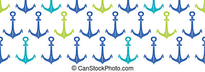 anchors blue and green hoizontal seamless pattern backgound
