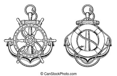 Vector anchors with a wooden ship steering wheel and life ring