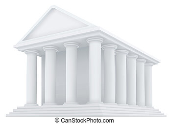 High detailed 3d vector illustration of an ancient building