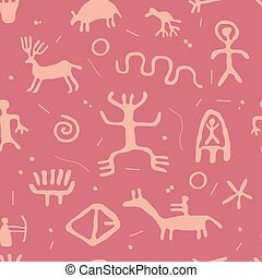 vector ancient cave petroglyphs seamless pattern