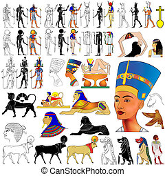 Vector set of motifs of ancient Egypt - Gods, Goddess, demons, queen, etc...