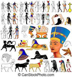 Vector set of motifs of ancient Egypt - Gods, Goddess, demons, queen, etc...