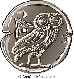 ancient Greek drachma money silver coin with the image of the owl and olive