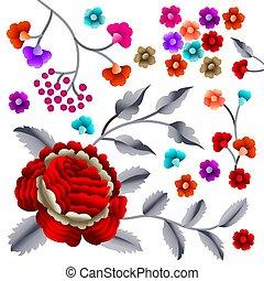 Vector Ancient Oriental folk motif of flowers. Manton shawl, Spanish Manila flamenco decorative embroidery ornament. Traditional handmade embroidery