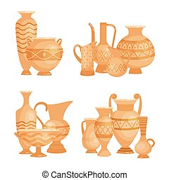 Vector ancient vases, bowls and goblets isolated on white background