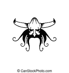 Vector ancient viking head logo. Man head logotype