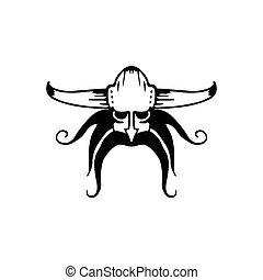 Vector ancient viking head logo