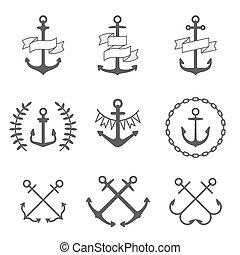 vector, ancla, iconos, y, logotipos, conjunto