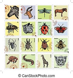 vector, anders, set, dieren, postzegels